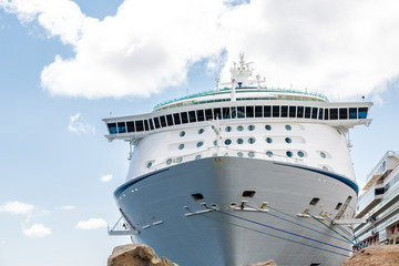 Cruise Ship Over Boulders with Ropes