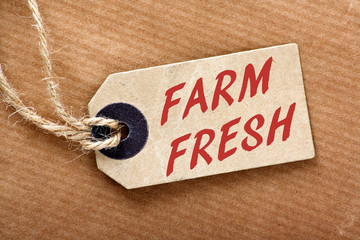 Farm Fresh price tag or label with string and brown paper