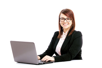 business woman with a laptop on a white background