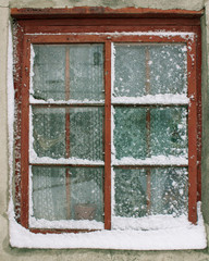 old window in the snow