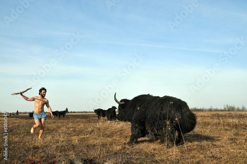 Keuken foto achterwand Jacht Savage hunts yak with a spear
