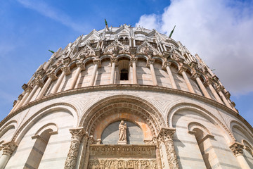 Architecture details of Baptistery at the Leaning Tower in Pisa