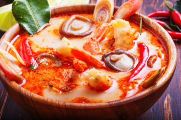 Thai Tom Yam soup with shrimp and  mushrooms