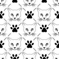 Cat face and paws seamless pattern