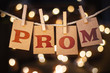 Leinwanddruck Bild - Prom Concept Clipped Cards and Lights