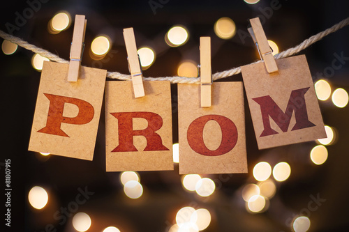 Leinwanddruck Bild Prom Concept Clipped Cards and Lights
