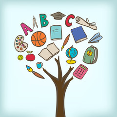 abstract tree with school utensils as leaves