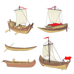 set of ancient ships drawing