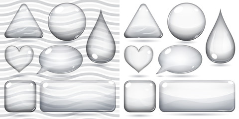 Transparent and opaque glass shapes