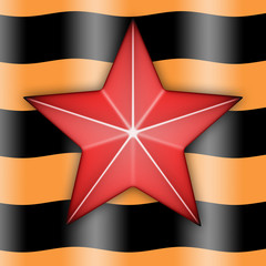 Red star on a background of the St. George Ribbon
