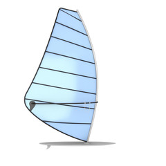 Sailboard on a white