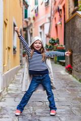 Little girl in Vernazza village in Cinque Terre