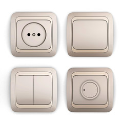 Set of switches and sockets on a white