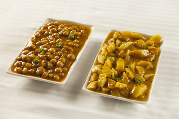 Indian/Pakistani cuisine Aaloo bhujia and Channa
