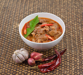 Red savory curry with pork
