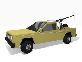 3d rendered model of pickup truck armed with machine gun