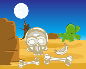 Skull and crossbones in desert