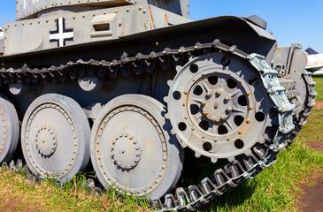 German old light tank caterpillar close up