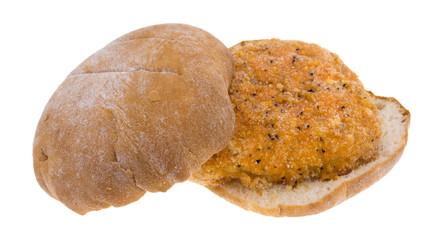 Chicken Sandwich Frozen On White Background
