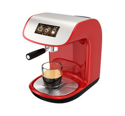 Red espresso coffee machine with touch screen
