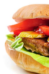 realistic looking half hamburger