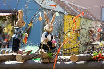 Lapins et décoration de Pâques