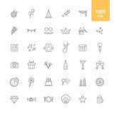 Party icons set. Vector illustration.