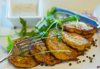 Vegetable fritters with carrots and zucchini