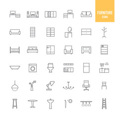 Furniture and home decor icons. Vector illustration.