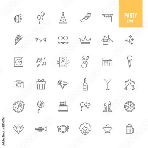 Zdjęcia na płótnie, fototapety, obrazy : Party icons set. Vector illustration.