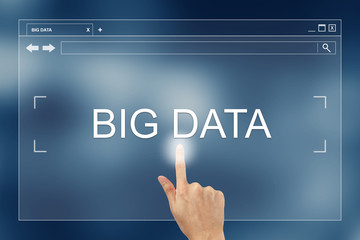 hand press on big data button on website