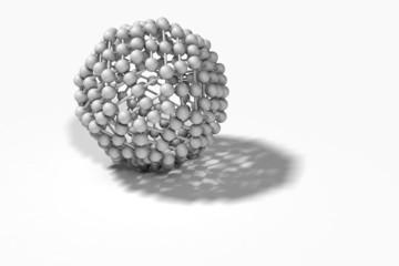Illustration depicting molecular structure concept against white