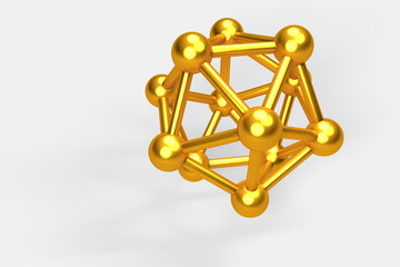 3D collection of gold objects. atomic molecule on white backgrou