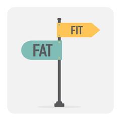 Fit or fat sign. Health motivation. Vector illustration.