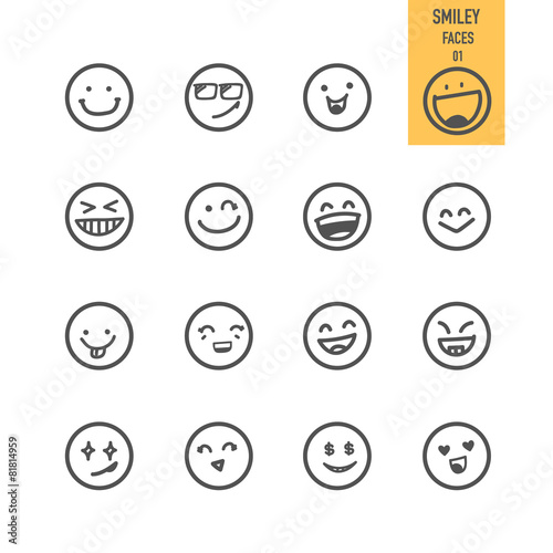Smiley faces icons set. Vector illustration. - 81814959