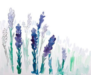 Background with hand painted watercolor lavender