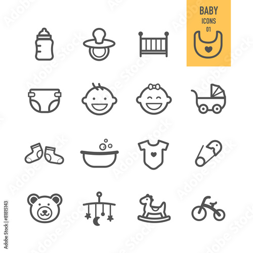 Baby icons set. Vector illustration.