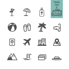 Set of travel icons. Vector illustration.