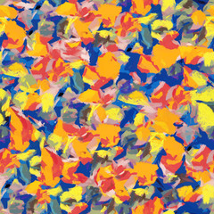 Orange blue yellow abstract seamless pattern oil painting