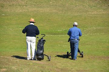 practicando golf