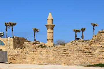 minaret of Caesarea Maritima in ancient city of Caesarea, Israel