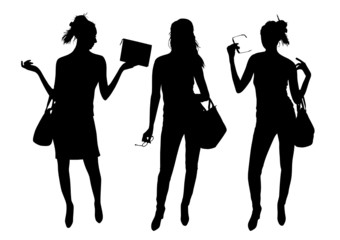 Girls and Bags Silhouettes