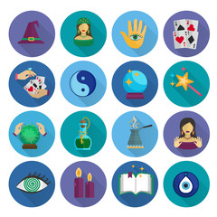 Fortune Teller Icons Flat