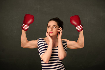 Strong and muscled boxer arms