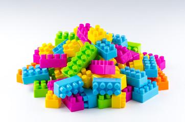 Plastic building blocks.