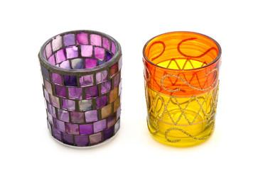 2 Teelichthalter aus Glas