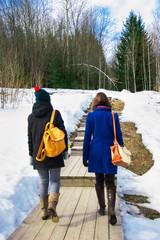 девушки идут рядом по лесной дороге
