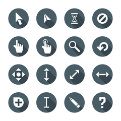 white color flat style various solid cursors icons set.