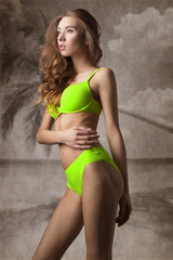 Summer fit woman in green