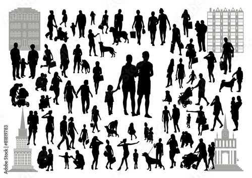 People silhouettes in the city - 81819783